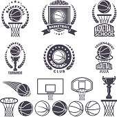 Sport  with basketball monochrome pictures. Vector labels set isolate on white. Sport basketball label and emblem for championship or tournament illustration