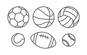 Sports balls in linear style on white