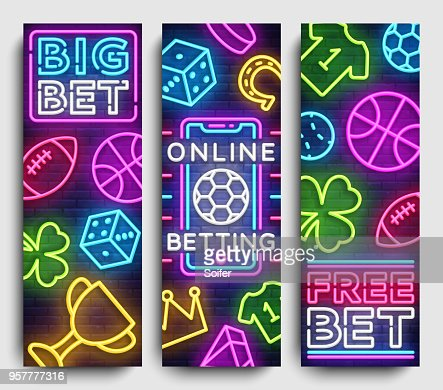 Sports Betting Vertical Banner Vector Design Template Neon Signs