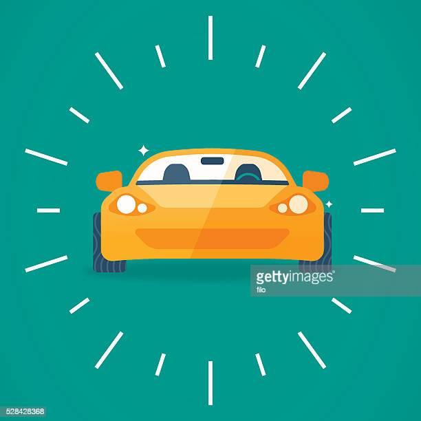 Vista frontale auto sportive