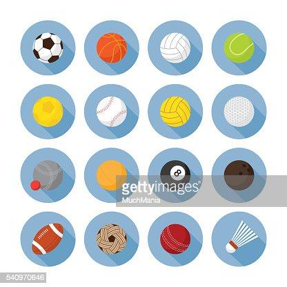 Sports Equipment, Ball Flat Icons Set : stock vector