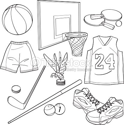 sports equipment collections vector art