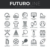 Modern thin line icons set of sports equipment and wear, various type of balls. Premium quality outline symbol collection. Simple mono linear pictogram pack. Stroke vector  concept for web graphics.