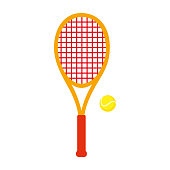Sports Equipment. Tennis. Vector illustration isolated on white background