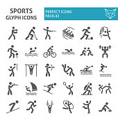 Sports games glyph icon set, sport symbols collection, vector sketches, symbol illustrations, sportsman signs solid pictograms package isolated on white background, eps 10.