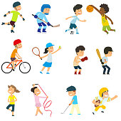 sports kids are actively involved in sports. vector