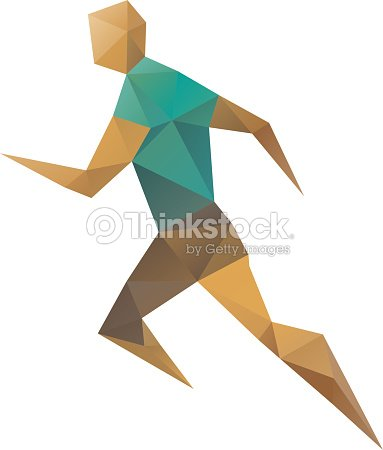Sports Man Running Abstract Isolated On A White Backgrounds Vector Art