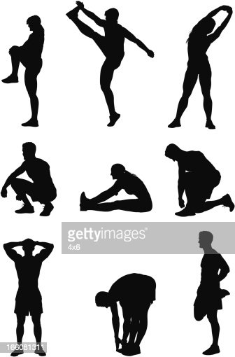 Sports people exercising : Vector Art
