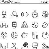 Sports, recreation, work out, equipment and more, thin line icons set, vector illustration