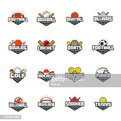 Sports logo set. Football, baseball, basketball, billiards, bowling, cricket, darts, golf, hockey, ping pong, poker, volleyball, rugby, snooker, tennis. Vector isolated colorful sport badges : stock vector