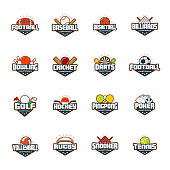 Sports logo set. Football, baseball, basketball, billiards, bowling, cricket, darts, golf, hockey ping pong poker volleyball rugby snooker tennis Vector isolated colorful sport badges