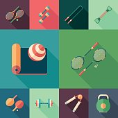Sports flat icons with long shadows.
