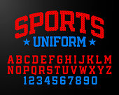 Sports uniform style font, alphabet and numbers vector illustration