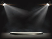Spotlights illuminates a round empty stage. Background for presentation and awards. Vector illustration.