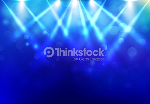 Spotlights lighting disco party stage with blured bokeh on blue dark background. : stock vector