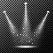 Vector Illustration Of Spotlights shining with sprinkles on transparent background