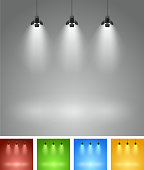 Set of studio spotlight background with lamps - vector EPS 10 illustration