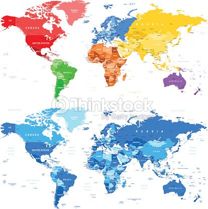 Spotted Color And Blue World Map Borders Countries And Cities Vector - World map in blue color