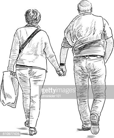 Spouses On A Walk Vector Art   Thinkstock