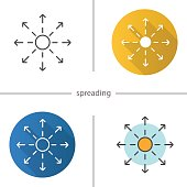Spreading flat design, linear and color icons set. Distribution abstract metaphor