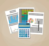 Spreadsheet concept. Business background with financial reports, calculator and pen. vector illustration in flat design on brown background