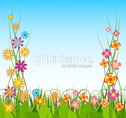 Spring Background With Creeper Flower Vector Art