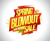 Spring blowout sale, mega discounts banner design concept