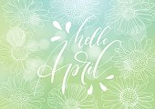 Phrase Hello April. Brush pen lettering. Vector Illustration isolated on a abstract blurred green background.