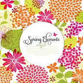 Spring design with flowers, leaves and copyspace.  EPS10 file contains transparencies.  Additional AI10 file included with whole shapes. Hi res jpeg included, global colors used. Scroll down to see mo