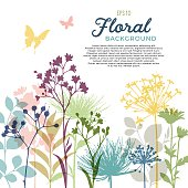 Spring floral background and border with wildflowers, leaves and stems.  Hi res jpeg and .ai file included. EPS10 file contains transparencies.