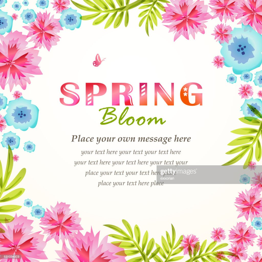 spring flowers blooming frame background vector art getty images