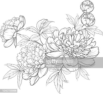 Spring flowers bouquet of contour style flower garland. : stock vector