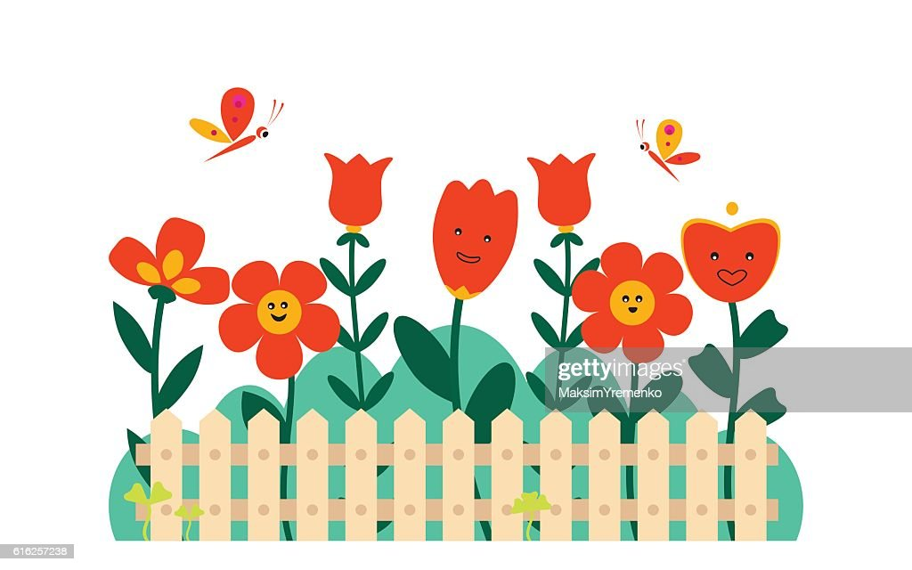 Spring flowers in a small garden : Vector Art
