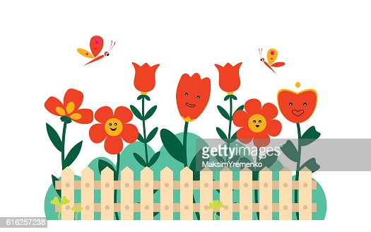 Flores de primavera en un jardín pequeño : Arte vectorial