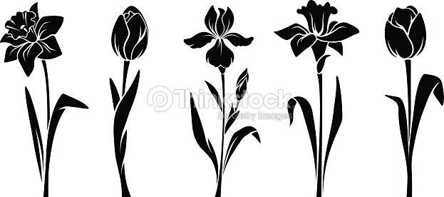 Spring Flowers Vector Black Silhouettes Vector Art Thinkstock