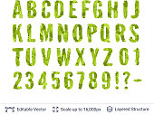 Letters numbers and signs included. Paint brush silhouette filled with leaves pattern.