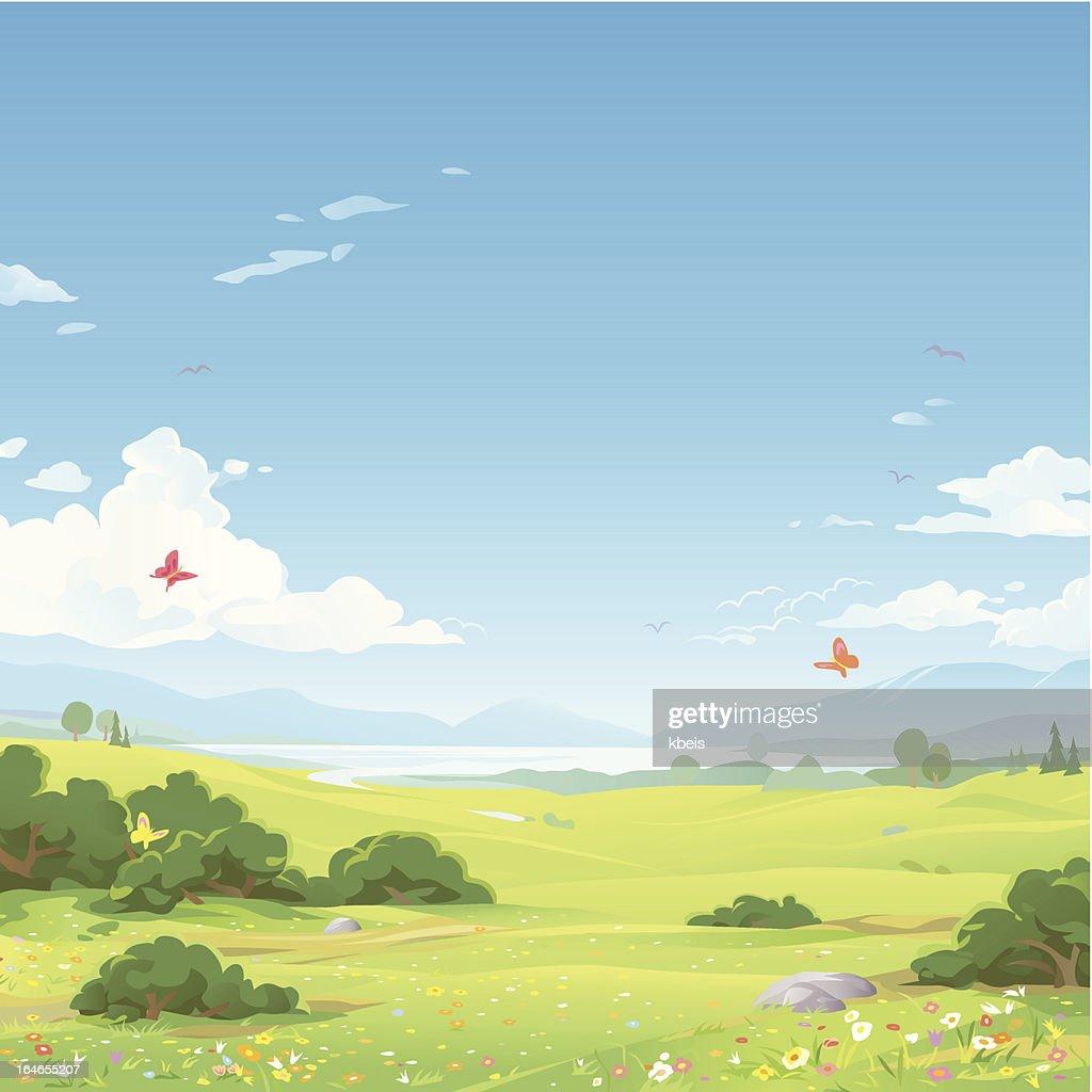 Spring Landscape : Vector Art