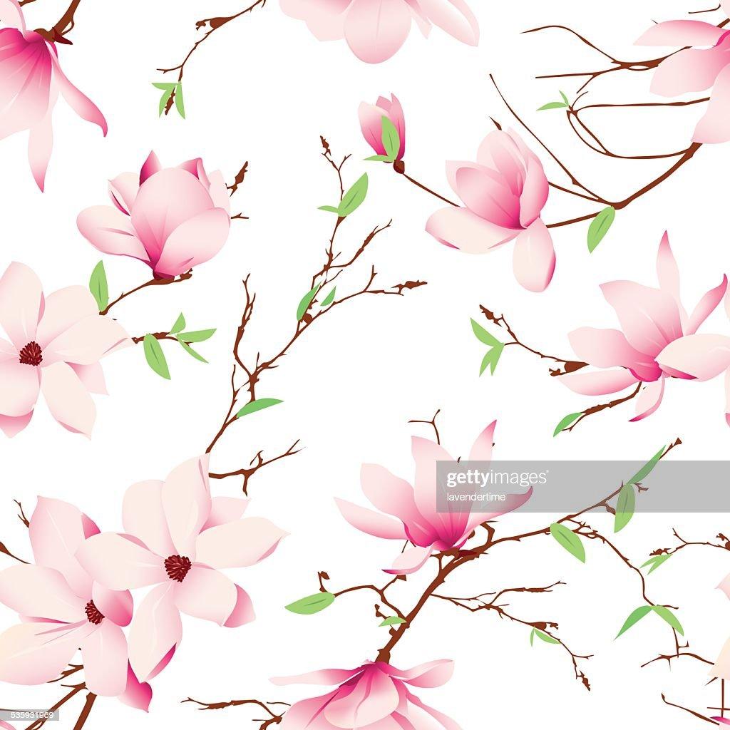Spring magnolia flowers seamless vector pattern : Vector Art