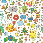 Seamless pattern with cute cartoon cats, dogs and birds on white  background. Flowers and plants of  spring time. Vector contour doodle style image.