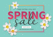 Spring sale banner template for social media and mobile apps with paper daisy flowers isolotated on mint  background. Vector illustration