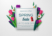 Spring sale banner with paper cut tulips and narcissus. Template for banners, flyers, posters, brochures, voucher discount. Vector illustration.