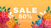 Spring sale banner with paper flowers on a yellow background. Vector illustration. Banner perfect for promotions, magazines, advertising, web sites.