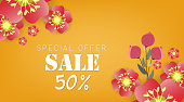 Spring sale banner with paper flowers on a yellow background. Vector illustration. Banner perfect for promotions, magazines, advertising, web sites