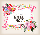 Spring sale concept. Summer background with chamomile and delicate background