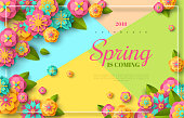 Spring sale flyer template with paper cut flowers and leaves with frame. Bright colorful geometric background. Vector illustration. Fresh design for posters, flyers, brochures or vouchers.