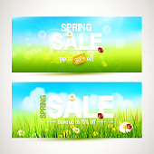 Vector set of two spring sale headers with sunny meadow