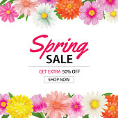 Spring sale poster template with colorful flower background.Can be use voucher, wallpaper,flyers, invitation, brochure, coupon discount.