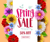 Spring sale vector banner design with sale text in white empty space and various colorful flowers in a background for spring seasonal discount promotion. Vector illustration.