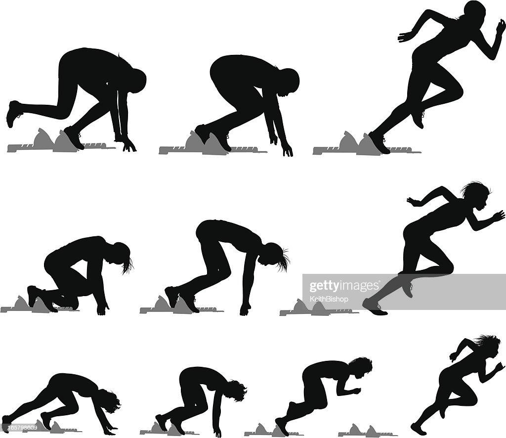 Sprinters runner race track meet female vector art getty for Acondicionamiento fisico