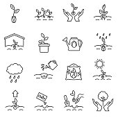 sprout icons set. growing plants from seeds collection. cultivation, care of sprouts and seedlings.Thin line design. gardening, vector linear illustration